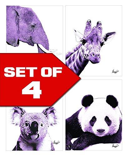 Cheap  Purple Nursery Animals Elephant, Panda, Koala, Giraffe! Color Accent Bundle 4 Stylish..