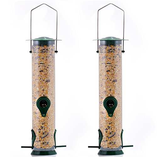 Gray Bunny GB-6847 Classic Tube Feeder, Set of 2, Premium Hard Plastic Outdoor Birdfeeder with Steel Hanger, Weatherproof and Water Resistant