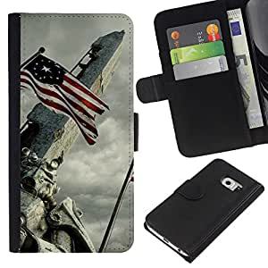 KLONGSHOP // Tirón de la caja Cartera de cuero con ranuras para tarjetas - Bandera de EE.UU - Samsung Galaxy S6 EDGE //