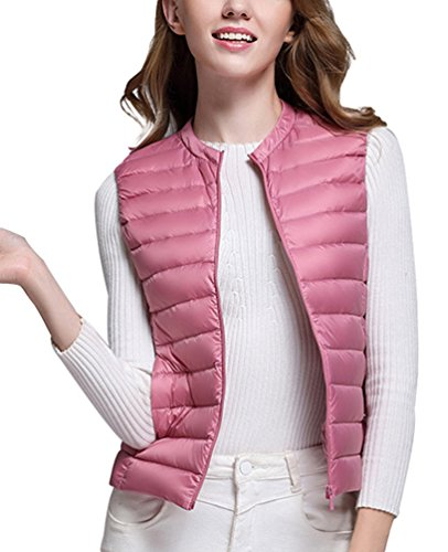 Down Jackets Collar Gilet Packable Ultralight Autumn LvRao Quilted Round Pink Womens Warm Sleeveless Vest q8Ttnpaw
