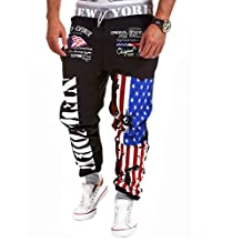 Amoin Men's Hip hop American USA FLAG Jogger Sport Sweat Cotton Pants