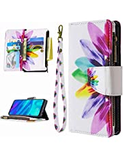 Miagon 9 Card Slots Wallet Case for Samsung Galaxy S20 FE,Colorful Zipper Wallet Cover PU Leather Magnetic Flip Folio Wrist Strap Stand Protective Bumper,Sunflower