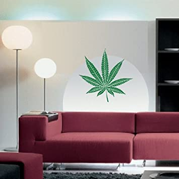 WALL DECAL WEED MARIJUANA POT PLANT LEAF SMOKE VINYL STICKER - Custom vinyl wall decal equipment