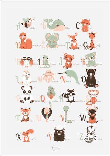 Poster 30 X 40 Cm Abc Tiere Franzosisch Von Kanzi Lue