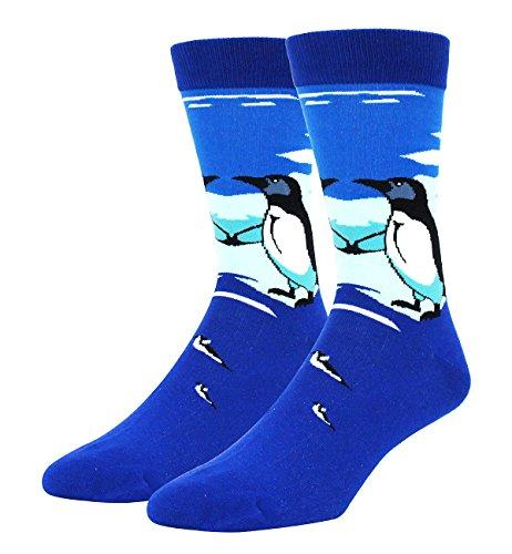(Zmart Men's Novelty Crazy Funny Cool Penguin Crew Socks in Blue, Funky Cute Animal Dress Socks )