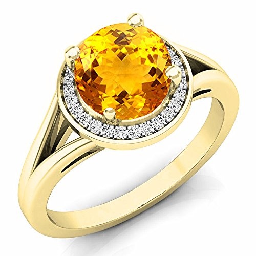 Dazzlingrock Collection 14K 7 MM Citrine & White Diamond Halo Style Bridal Engagement Ring, Yellow Gold, Size 7