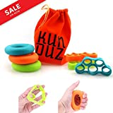 KUNDUZ fitness Grip Trainer & Finger Stretcher – Finger and Hand Strengtheners – 3 Levels Hand Grip Rings & Finger Resistance Bands with Carry Bag (6 pack)