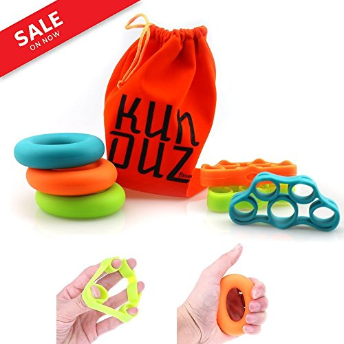 KUNDUZ fitness Grip Trainer & Finger Stretcher - Finger and Hand Strengtheners - 3 Levels Hand Grip Rings & Finger Resistance Bands with Carry Bag (6 pack) by KUNDUZ fitness