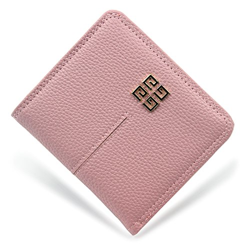 Women's Small Compact Bi-fold Leather Pocket Wallet Credit Card Holder Case with ID Card Window (Pink)