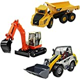iPlay, iLearn Heavy Duty Construction Site Play Set, Collectible Model Vehicles, Metal Tractor Toy, Dump Truck, Excavator, Digger, Compact Gift Toy for 2, 3, 4 Year Olds, Toddlers, Boys, Kids