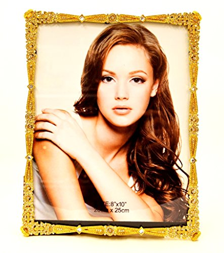 - Ciel Collectables Elegant Sasha Picture Frame with Hand Set Clear Swarovski Crystal, Gold Plating, Brown Color Stylish Silk Back Have Two Way Easel, Holds 8 x 10 Inch Pictures