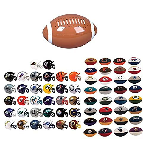 Mini Nfl Football Helmets and Nfl Eraser Puzzles Complete Sets of 32 Each, Total 64 Licensed Items PLUS BONUS MINI FOOTBALL INFLATE BUNDLE BY DISCOUNT PARTY AND NOVELTY (Nfl Helmets Kids)