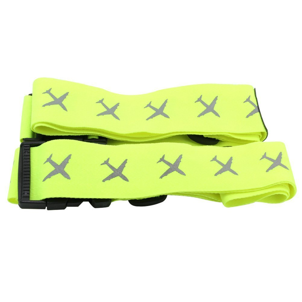 Heavy Superior Strength Extra Long Cross Luggage Strap Suitcase Travel Belt Tags fluorescent green