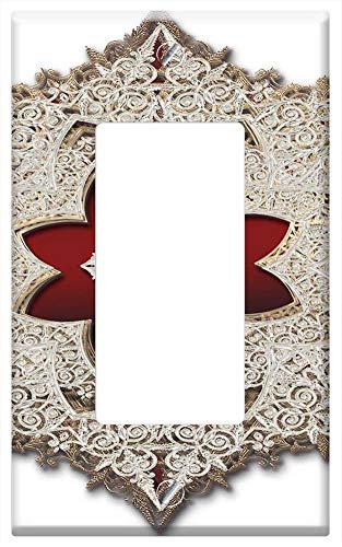 Switch Plate Single Rocker/GFCI - Jewelry Jewel Gems Gemstone Shine Shiny Gold