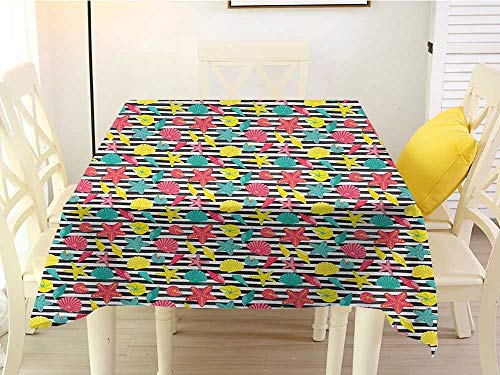 L'sWOW Square Tablecloth wipeable Starfish Black and White Stripes with Colorful Cartoon Shellfishes Oyster and Seastars Multicolor Western 50 x 50 Inch