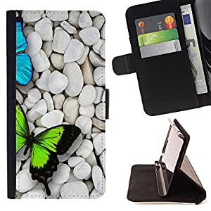 King Air - Premium PU Leather Wallet Case with Card Slots, Cash Compartment and Detachable Wrist Strap FOR HTC Desire D816 816 d816t- Butterfly Fly Beautiful Colorful