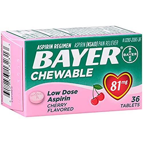 Bayer 596769 Chewable Aspirin 81mg, Cherry, 36 Pack (Cherry Aspirin)