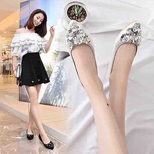 Meeshine Womens Foldable Soft Pointed Toe Ballet Flats Rhinestone Comfort Slip on Flat Shoes Silver 02