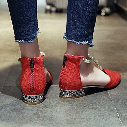 zipper YMFIE estate Ladies' poco basso profonda talloni alla tacco sandali cinturino b caviglia 1YCqf