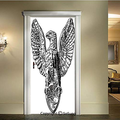 baihemiya Modern Art 3D Door Sticker,Italian Rome Heraldry Eagle Pattern European Empire Heritage Culture Print,W30.3xL78.7inch,Removable Door Decal for Home DecorBlack White