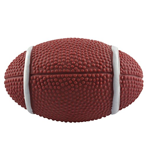 well-wreapped Dogloveit Dog Football Rubber Ball Toy with Sound Squeaker Squeaky Toy for Pets Puppies Dogs Cats