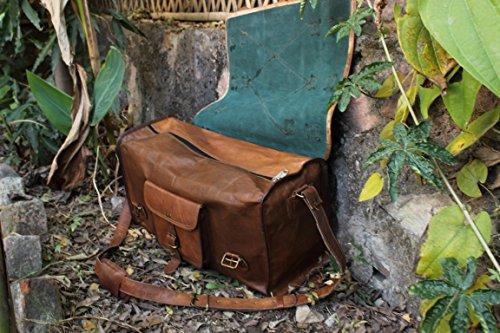 HLC Genuine Leather Handmade Vintage Duffel Luggage Travel Bag Duffel Gym Bag Yogo Bag Travelling Bag by HLC (Image #3)