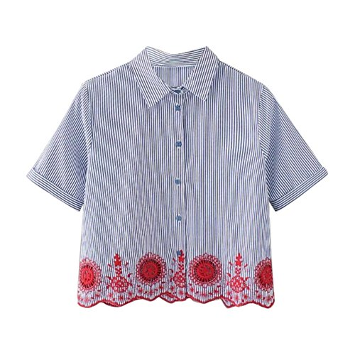 ROPALIA Mujeres Adolescentes bordados rayas manga corta camisetas Tops Blusa Blue