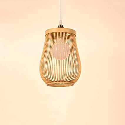 Kylinddt Lámpara de bambú Lámparas Retro Lámpara de Mimbre ...
