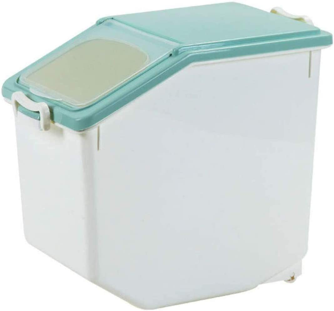 Basage Rice Storage Container with Sealed Multi-Use Food Container Box with Wheels 15kg(About 80 Cup)