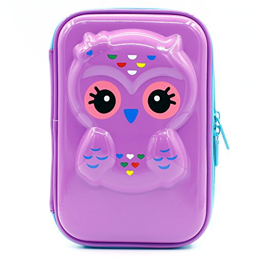 JUJIN Cute Owl Face Hardtop EVA Pencil Case Big Pencil Box With Compartment For Kids (Glossy - Girl Face Skinny