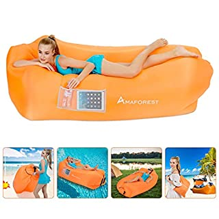 Inflatable Lounger Air Sofa Hammock-Inflatable Couch Air Chair Anti-Air Leaking Pouch Couch with Pillow and Carrying Bag for Outdoor Accessories for Parties, Travel,Camping (Orange)