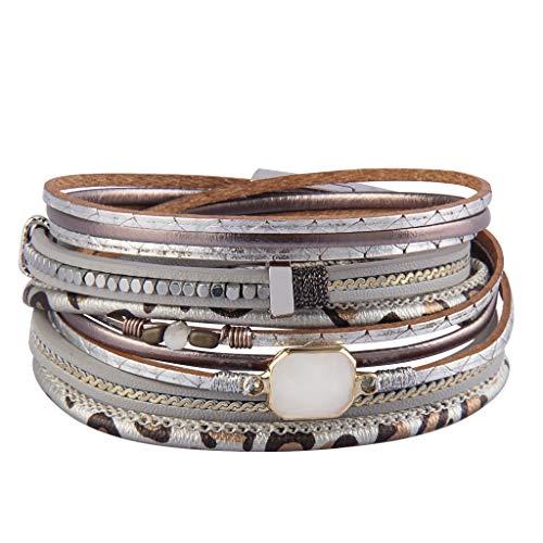 Jenia Multi Layer Leather Wrap Bracelet Crystal Cuff Bracelets Leopard Skin Boho Bracelet for Women, Girls, Mother, Wife, Ladies Gift
