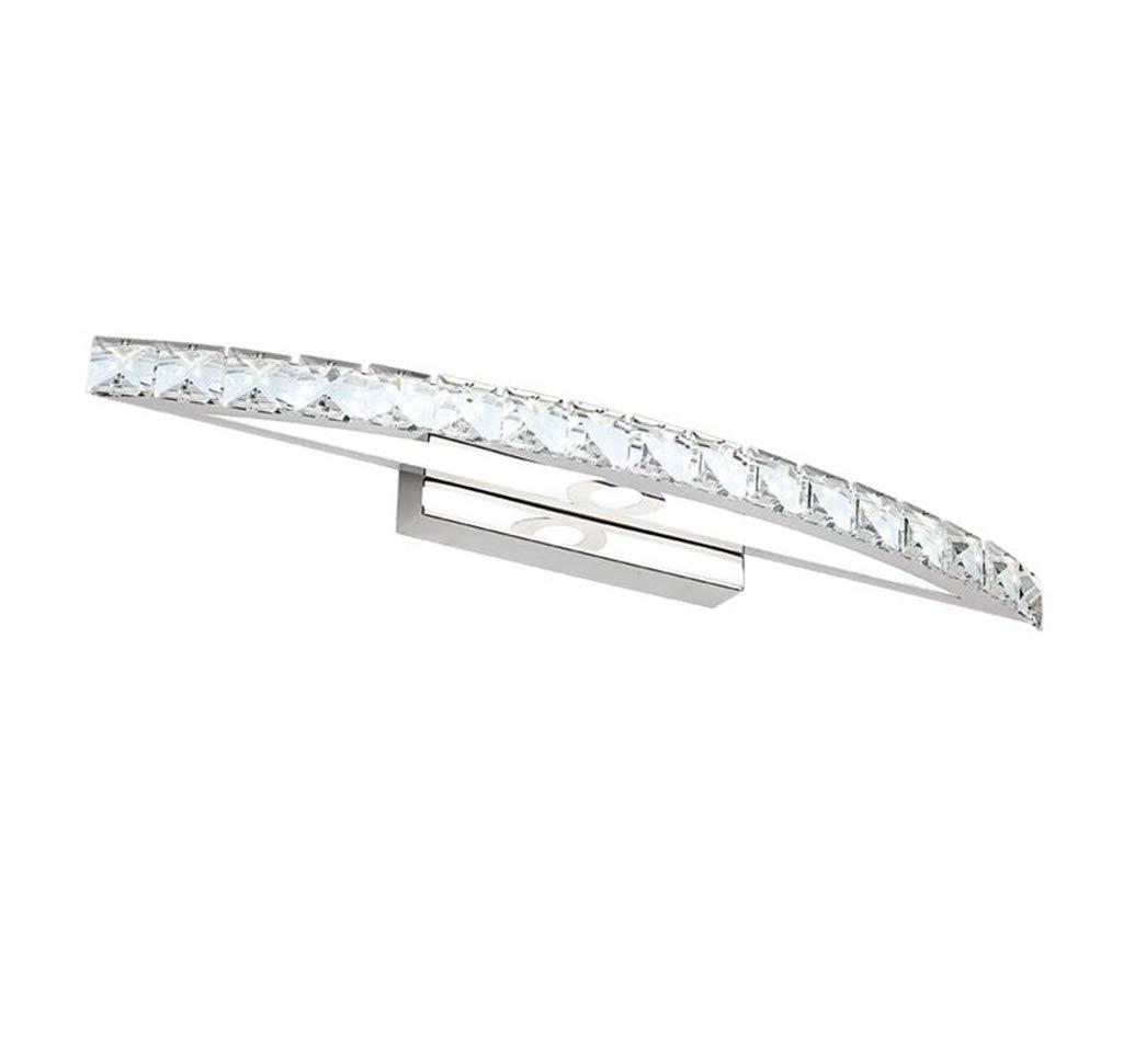 &Badezimmerbeleuchtung Spiegelfrontleuchte LED, Kristall-Wandleuchte Wasserdichter Anti-Fog-Edelstahl-Badspiegel Licht (Farbe   weißes Licht-54cm 15w)