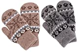 Knit Mittens Women's Winter Snowflake Sherpa Lined Gloves,2 Pairs,Khaki/Grey