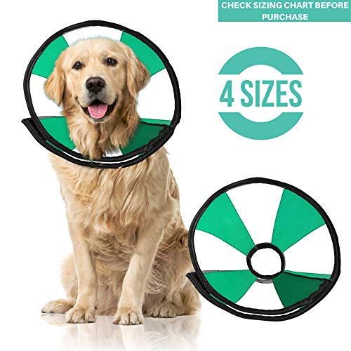 ProCollar Pet Recovery Cone E-Collar for Dogs and Cats - Comfortable Soft Collar is Adjustable for a Secure and Custom Fit - Easy for Pets to Eat and Drink - - Procollar Inflatable