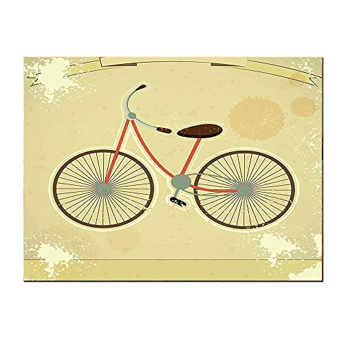 - SATVSHOP Art painting-20Lx20W-Vintage Postcard of a etro Bicycle on Grunge Background Illustration Brown and Khaki.Self-Adhesive backplane/Detachable Modern Decorative.