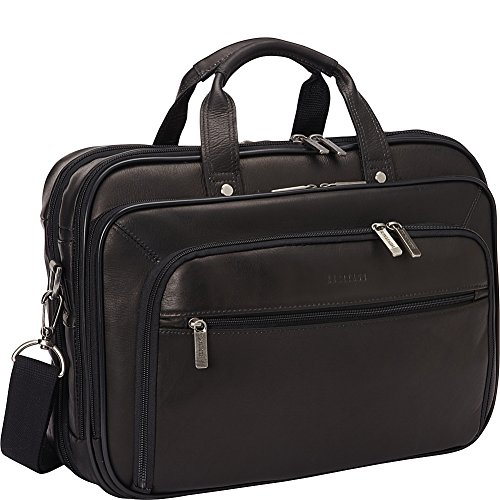 Lined Top Zip Briefcase (Heritage Double Gusset Top Zip EZ Scan Computer Case, Black, One Size)