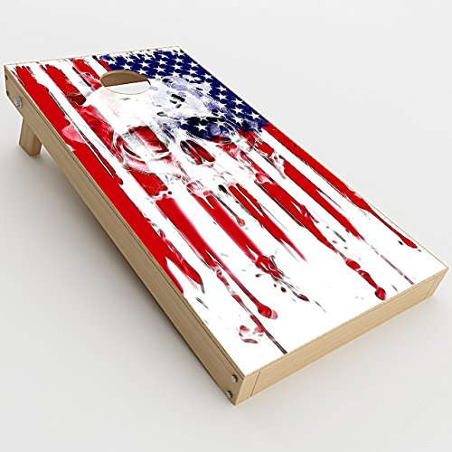 Skin Decals Vinyl Wrap for Cornhole Game Board Bag Toss (2xpcs.)/U.S.A. Flag Skull Drip
