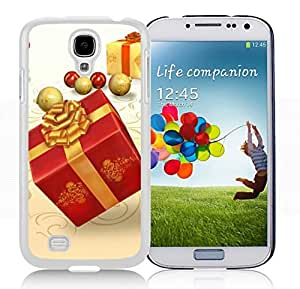 Galaxy S4 Case,Red Golden Christmas Gift Box Christmas Series-TPU White S4 Protective Case,Samsung S4 I9500 Case