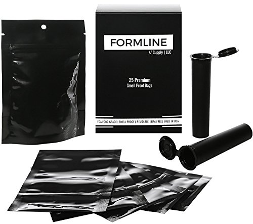 25 Smell Proof Bags (4x6) Made in USA by Formline Supply- Premium Odor Proof Baggies Designed to Lock in Herb Freshness with Reusable Zipper - Discreet Airtight and Heat Sealable + 2 Free Doob Tubes