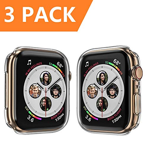 Monoy Case for Apple Watch Series 4 Screen Protector 44mm, [3-Pack] All Around Soft TPU Protective Cover Case for iWatch 4 44mm (Clear)
