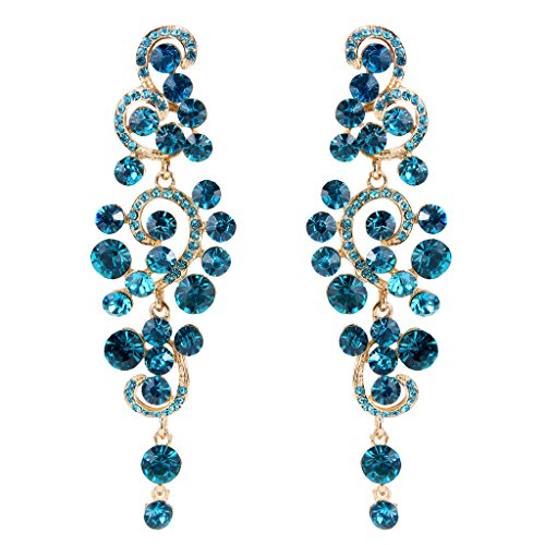 Womens blue chandelier earrings amazon brilove womens bohemian boho wedding bridal crystal floral chandelier hollow dangle earrings blue topaz color gold tone mozeypictures Images