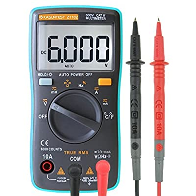 KASUNTEST Mini Auto Ranging Digital Multimeter 6000 Counts TRMS Portable Multitester OHM/Hz/Temp/Duty Cycle/Continuity Tester AC/DC Measuring Tester With backlit