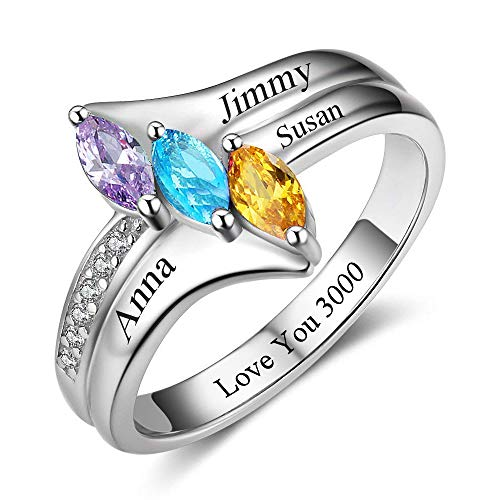 Personalized Engraved Mothers Rings 3 Simulated Birthstones Rings for Mother Family Rings for 3 (8)