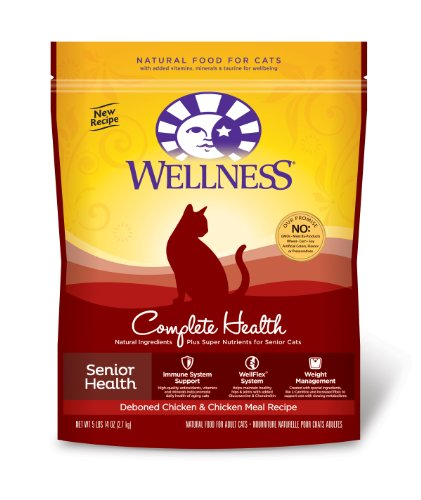 Wellness Complete Health Natural Dry Cat Food Senior Health Deboned Chicken and Chicken Meal Recipe 5.9-Pound Bag