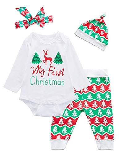 4PCS Baby Boys Girls My First Christmas Deer Outfit Set Long Sleeve Tree Bodysuit (12-18 Months) White