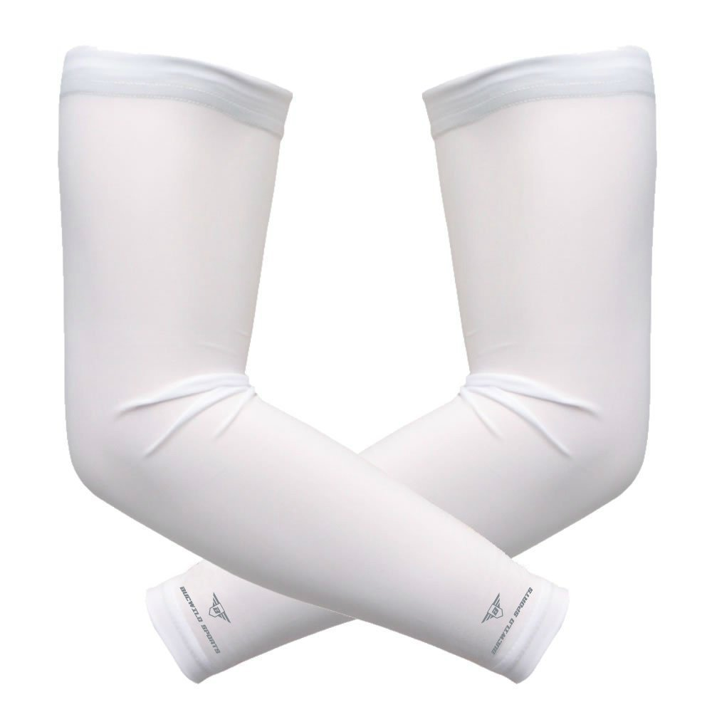 1 Pair Bucwild Sports Arm Cooling Sun Protection Compression Arm Sleeves - Youth & Adult Sizes - Baseball Basketball Golf Tennis Running