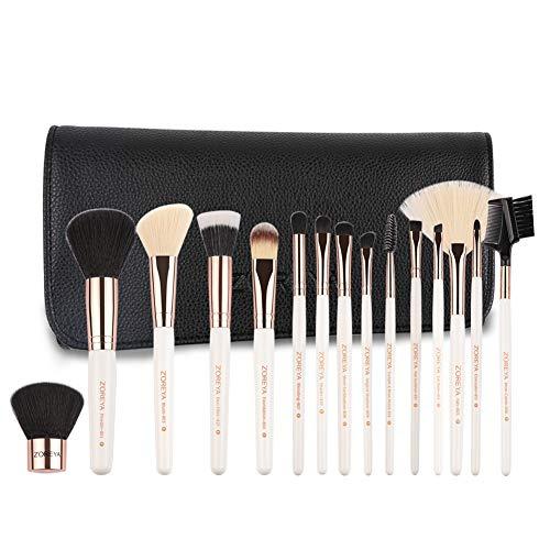 Makeup Brushes Set 15pc Rose Gold Make Up Brush Set Premium Synthetic Foundation Powder Concealers