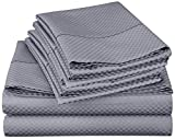 Lux Decor Collection Bed Sheet Set - Brushed Microfiber 1800 Bedding - Wrinkle, Stain and Fade Resistant - Hypoallergenic - 4 Piece (King, Checkered Grey)