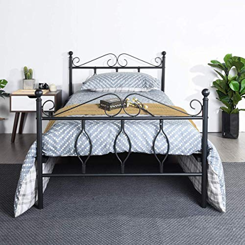 GreenForest Twin Bed Frame Wooden Slats Support Single Metal Platform Bed Base with Headboard and Footboard No Box Spring Needed, Black